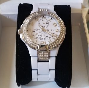 Guess white ceramic and rhinestone watch